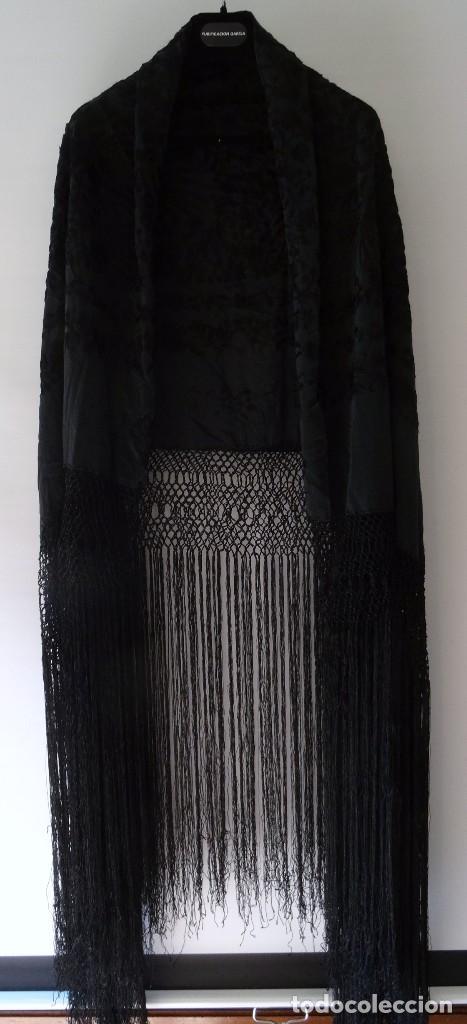 Antigüedades: Mantón negro bordado - Foto 7 - 117052647