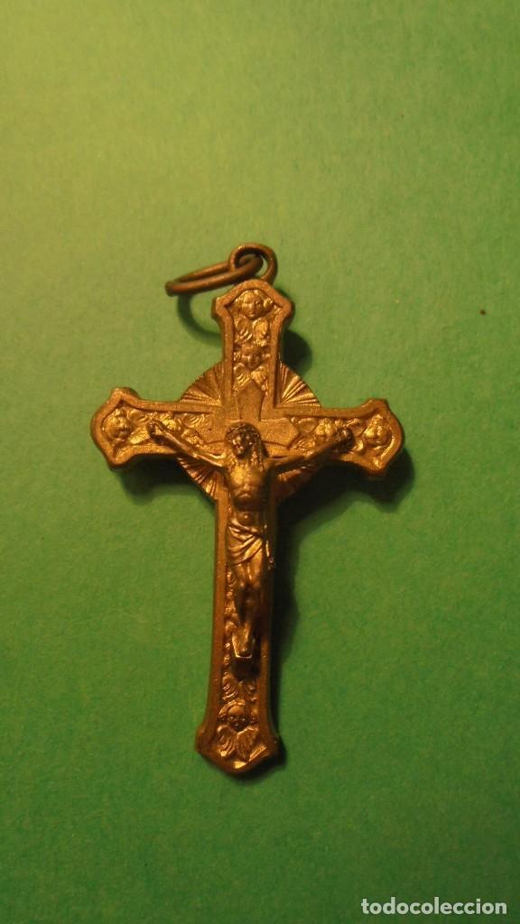 Antigüedades: RELICARIO - P.JOSE DE CALASANZ. CRUZ CON RELICARIO DE BRONCE SOBREDORADA - Foto 2 - 117055707