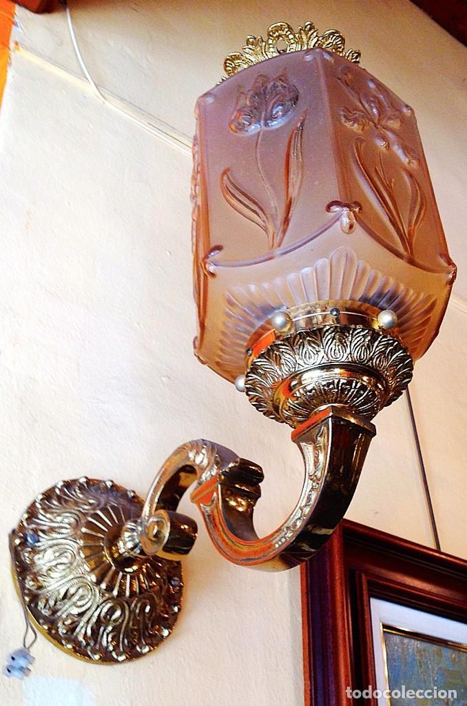 Antigüedades: Antiguo Aplique Grande De Bronce Alto 50CM - Foto 2 - 117062407