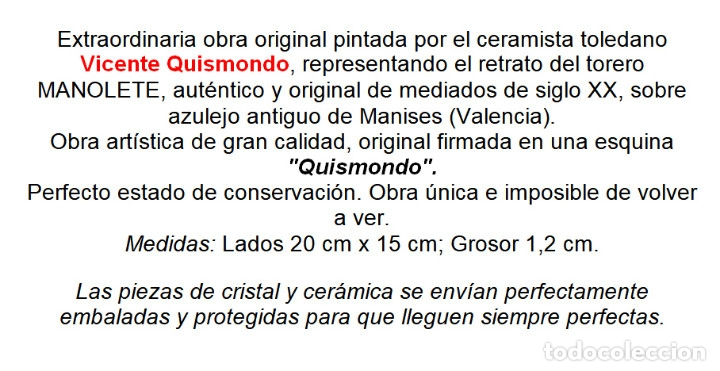 Antigüedades: EXTRAORDINARIO AZULEJO DE MANISES PINTADO POR EL CERAMISTA QUISMONDO FIRMADO CON RETRATO DE MANOLETE - Foto 8 - 117035683