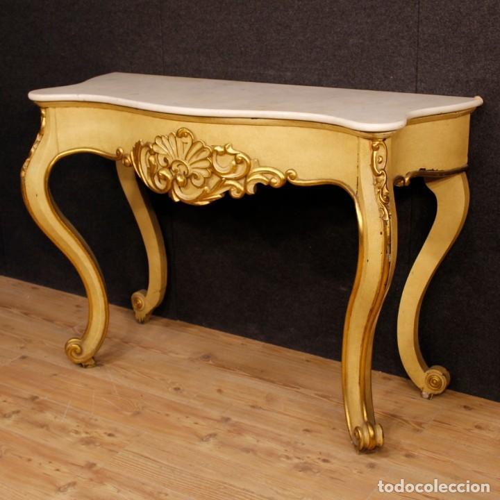 Antigüedades: Consola italiana en madera lacada y dorada con tapa de mármol - Foto 2 - 117096967