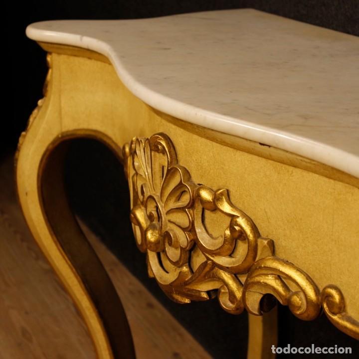 Antigüedades: Consola italiana en madera lacada y dorada con tapa de mármol - Foto 3 - 117096967