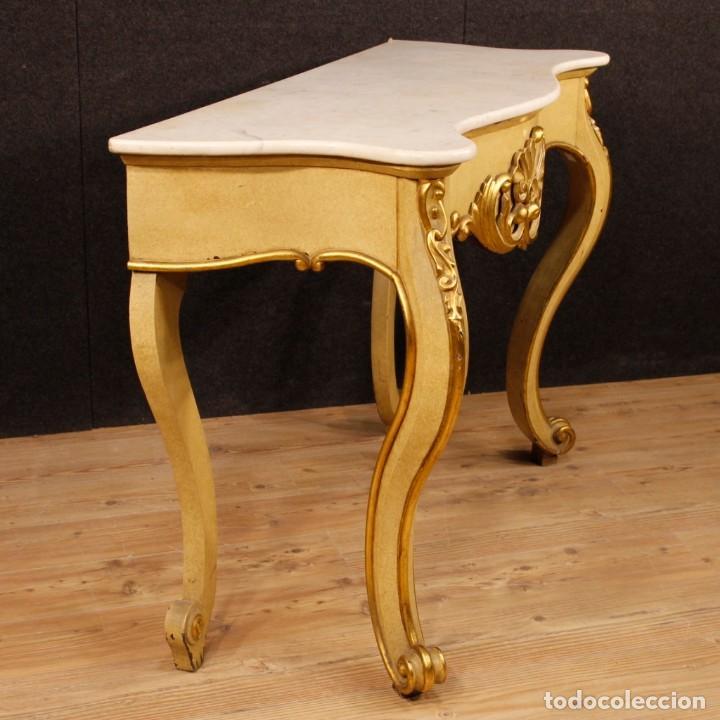 Antigüedades: Consola italiana en madera lacada y dorada con tapa de mármol - Foto 4 - 117096967