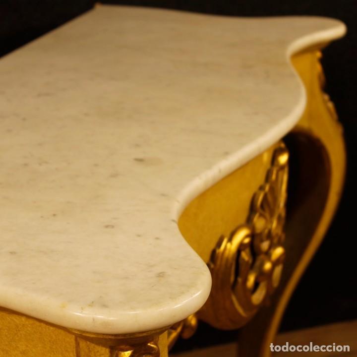 Antigüedades: Consola italiana en madera lacada y dorada con tapa de mármol - Foto 5 - 117096967