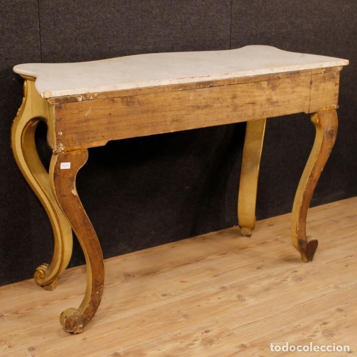 Antigüedades: Consola italiana en madera lacada y dorada con tapa de mármol - Foto 6 - 117096967
