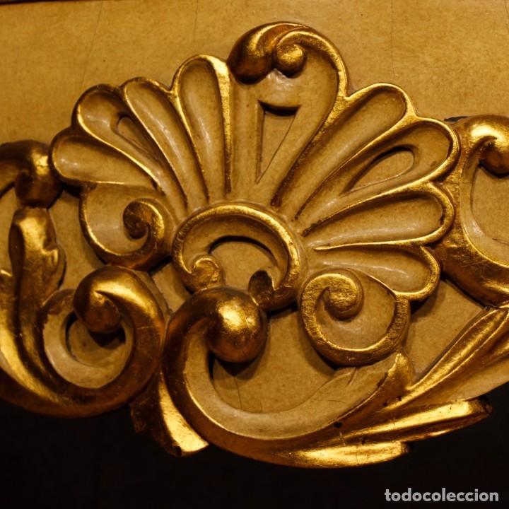 Antigüedades: Consola italiana en madera lacada y dorada con tapa de mármol - Foto 10 - 117096967