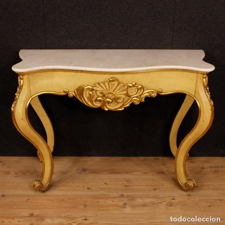 Antigüedades: Consola italiana en madera lacada y dorada con tapa de mármol - Foto 11 - 117096967