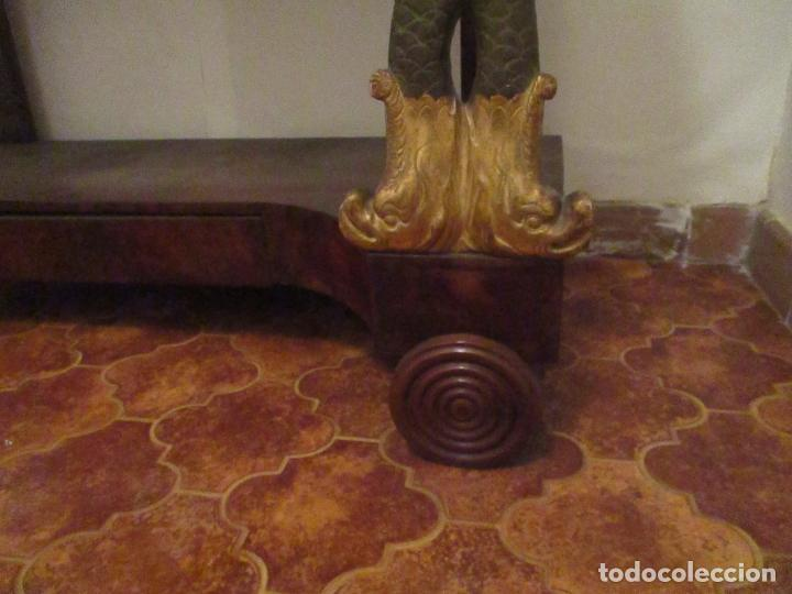 Antigüedades: Consola Imperio - Madera y Raíz de Caoba - Finas Tallas Doradas - Espejo - Desmontable - S. XIX - Foto 4 - 117107087