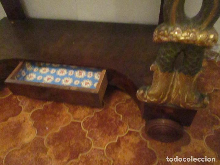 Antigüedades: Consola Imperio - Madera y Raíz de Caoba - Finas Tallas Doradas - Espejo - Desmontable - S. XIX - Foto 7 - 117107087