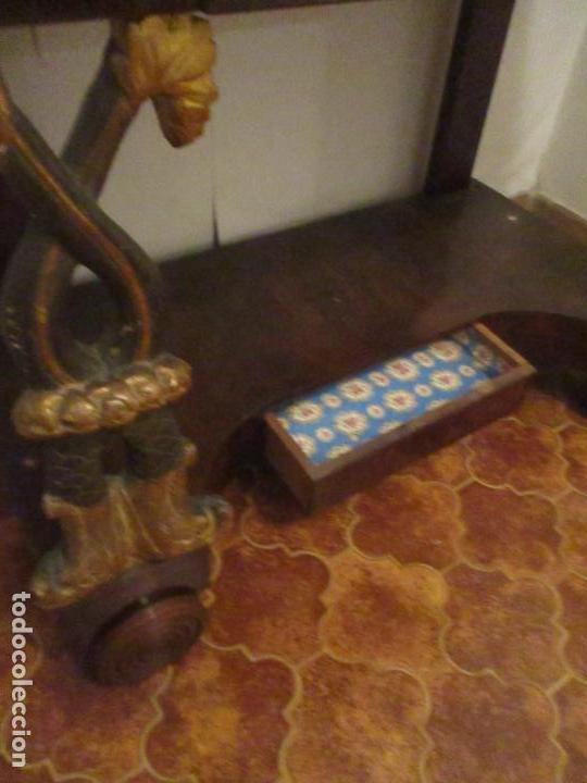 Antigüedades: Consola Imperio - Madera y Raíz de Caoba - Finas Tallas Doradas - Espejo - Desmontable - S. XIX - Foto 8 - 117107087