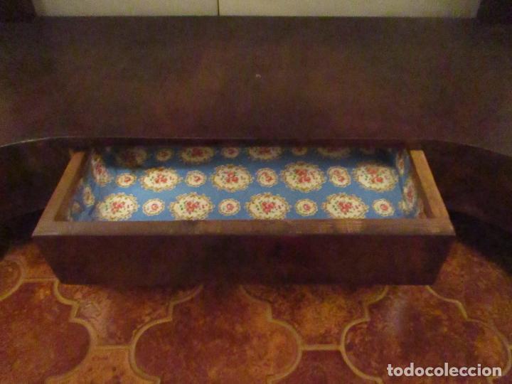 Antigüedades: Consola Imperio - Madera y Raíz de Caoba - Finas Tallas Doradas - Espejo - Desmontable - S. XIX - Foto 10 - 117107087