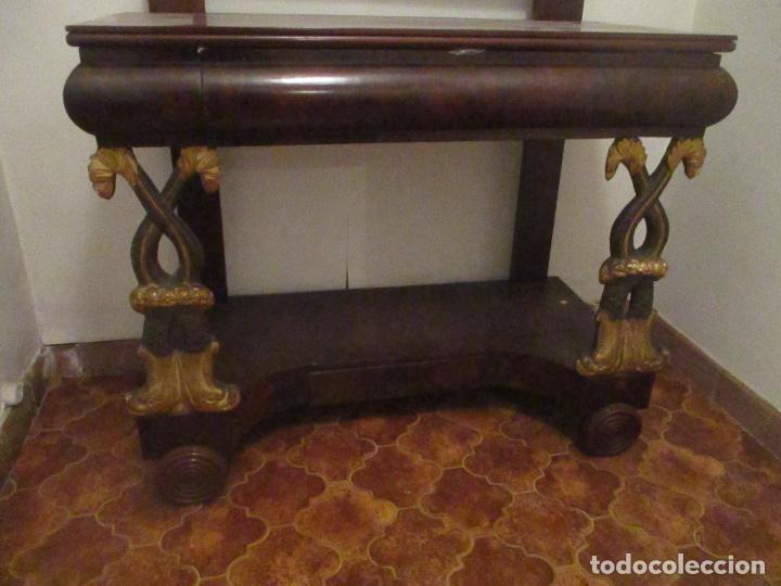 Antigüedades: Consola Imperio - Madera y Raíz de Caoba - Finas Tallas Doradas - Espejo - Desmontable - S. XIX - Foto 11 - 117107087