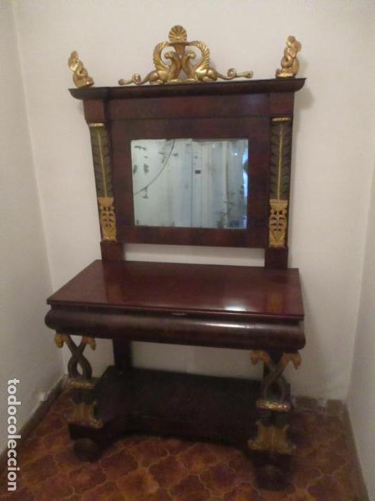 Antigüedades: Consola Imperio - Madera y Raíz de Caoba - Finas Tallas Doradas - Espejo - Desmontable - S. XIX - Foto 12 - 117107087