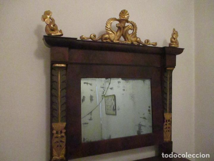 Antigüedades: Consola Imperio - Madera y Raíz de Caoba - Finas Tallas Doradas - Espejo - Desmontable - S. XIX - Foto 13 - 117107087