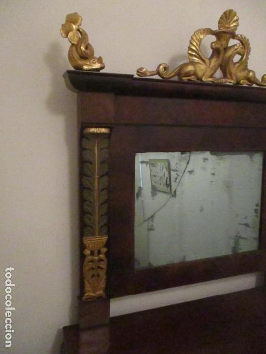 Antigüedades: Consola Imperio - Madera y Raíz de Caoba - Finas Tallas Doradas - Espejo - Desmontable - S. XIX - Foto 14 - 117107087