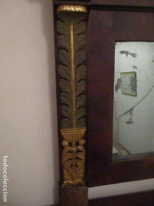 Antigüedades: Consola Imperio - Madera y Raíz de Caoba - Finas Tallas Doradas - Espejo - Desmontable - S. XIX - Foto 15 - 117107087