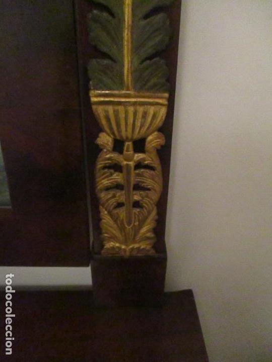 Antigüedades: Consola Imperio - Madera y Raíz de Caoba - Finas Tallas Doradas - Espejo - Desmontable - S. XIX - Foto 16 - 117107087
