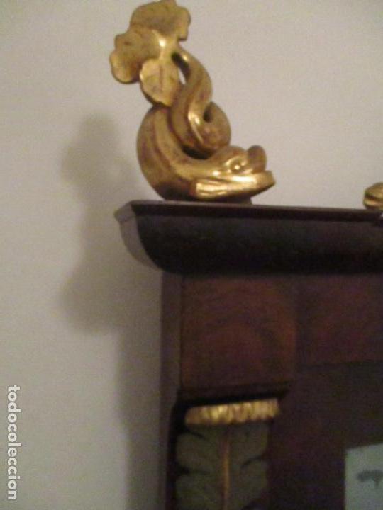 Antigüedades: Consola Imperio - Madera y Raíz de Caoba - Finas Tallas Doradas - Espejo - Desmontable - S. XIX - Foto 18 - 117107087