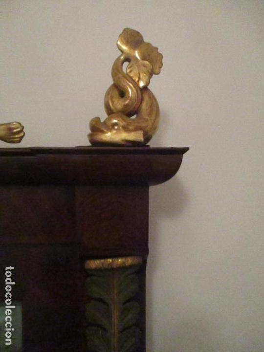 Antigüedades: Consola Imperio - Madera y Raíz de Caoba - Finas Tallas Doradas - Espejo - Desmontable - S. XIX - Foto 19 - 117107087