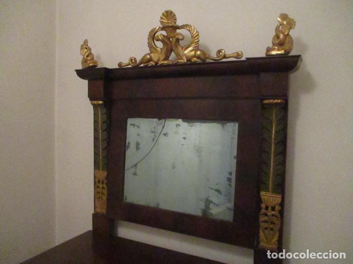 Antigüedades: Consola Imperio - Madera y Raíz de Caoba - Finas Tallas Doradas - Espejo - Desmontable - S. XIX - Foto 21 - 117107087