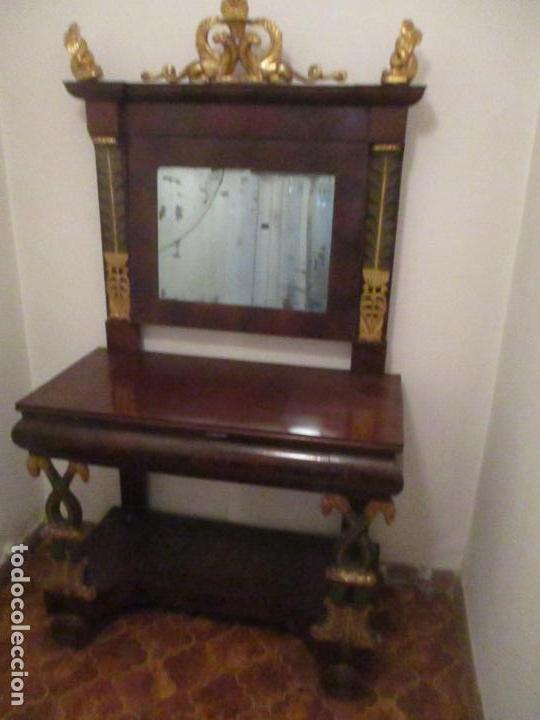Antigüedades: Consola Imperio - Madera y Raíz de Caoba - Finas Tallas Doradas - Espejo - Desmontable - S. XIX - Foto 22 - 117107087