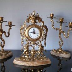 Antigüedades: RELOJ Y CANDELABROS BRONCE Y MARMOL. Lote 117137720