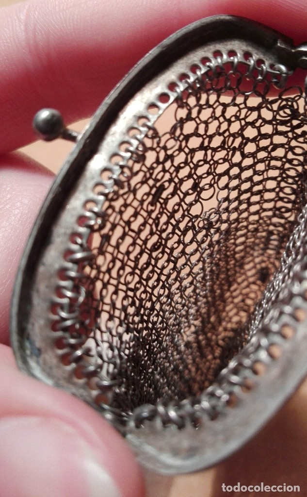 Antigüedades: antiguo bolso o monedero de malla de plata - Foto 5 - 83854792