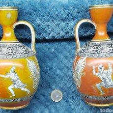 Antigüedades: 2 JARRONCITOS NEOCLASICOS STAFFORDSHIRE S.XIX. Lote 117193347