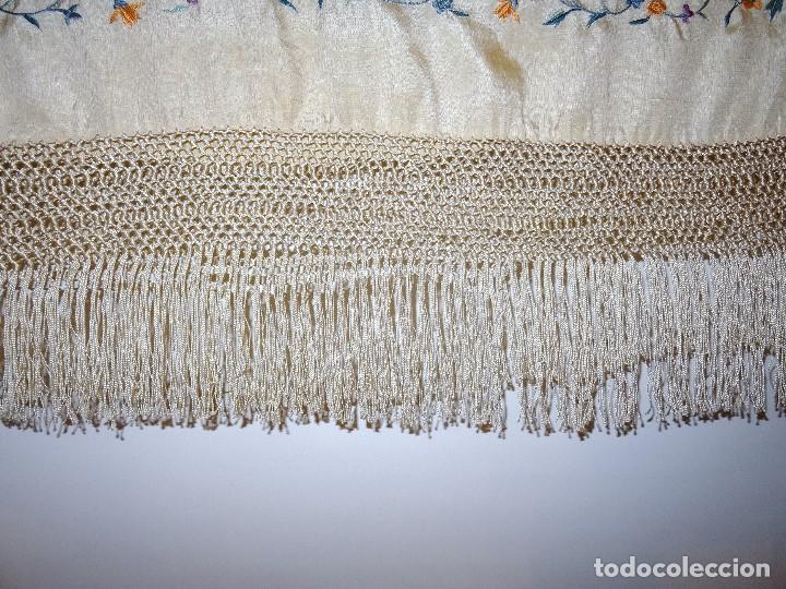 Antigüedades: Mantón seda bordada. - Foto 4 - 117214503