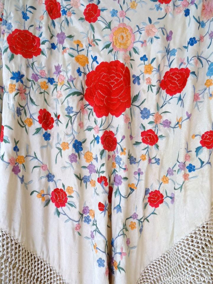 Antigüedades: Mantón seda bordada. - Foto 6 - 117214503