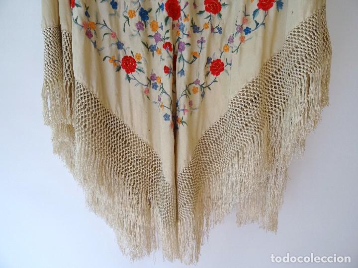 Antigüedades: Mantón seda bordada. - Foto 7 - 117214503