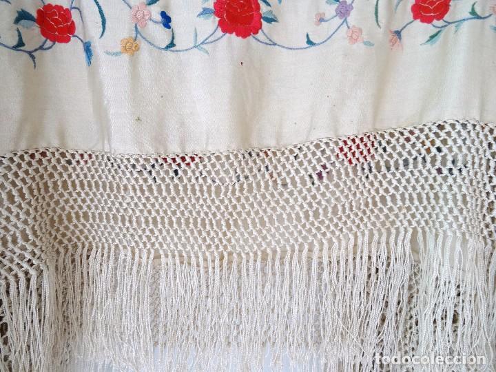 Antigüedades: Mantón seda bordada. - Foto 9 - 117214503