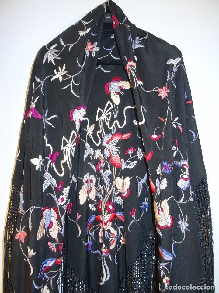 Antigüedades: Manton de seda negro - Foto 4 - 117215723