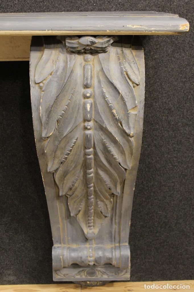 Antigüedades: Consola francesa en madera lacada y tallada del siglo XX - Foto 7 - 117222739