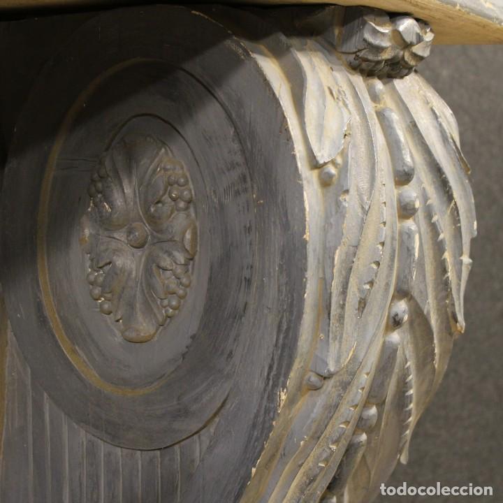 Antigüedades: Consola francesa en madera lacada y tallada del siglo XX - Foto 8 - 117222739