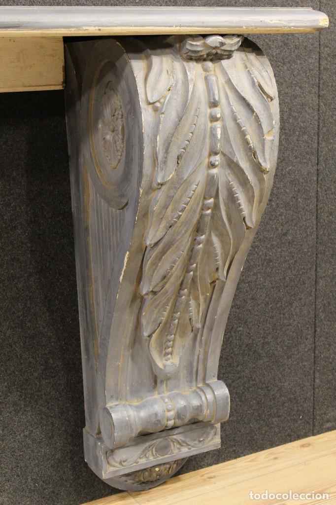 Antigüedades: Consola francesa en madera lacada y tallada del siglo XX - Foto 12 - 117222739