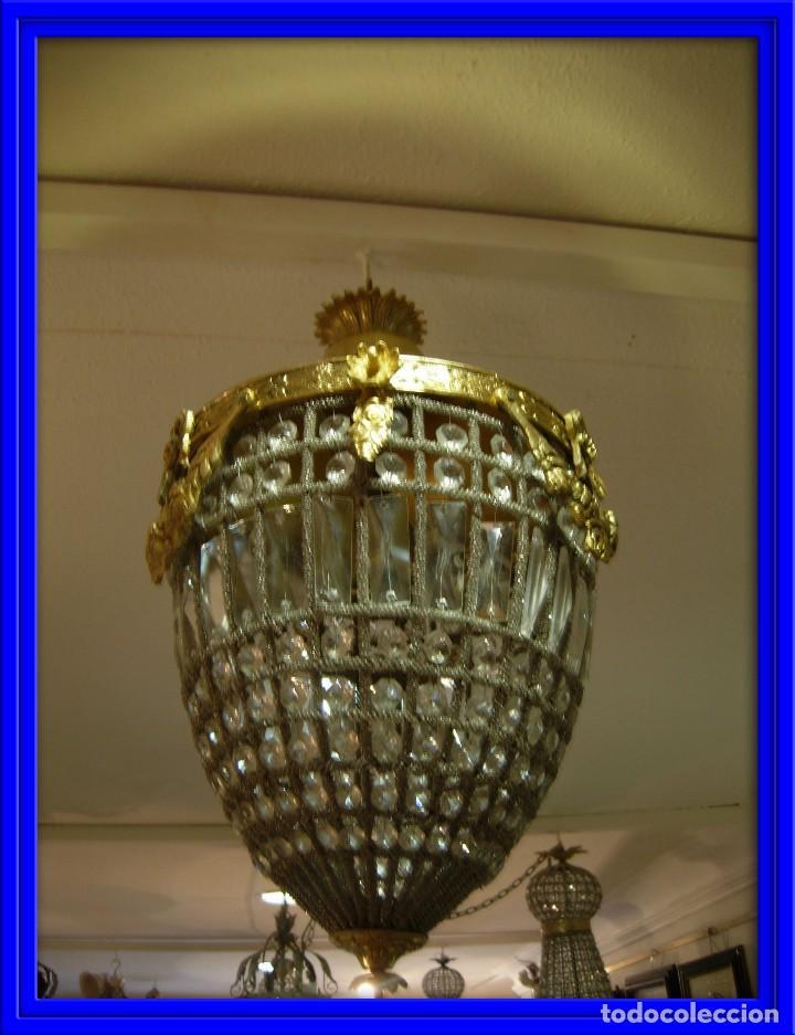 LAMPARA O GLOBO CON CRISTALES EN BRONCE DORADO (Antigüedades - Iluminación - Faroles Antiguos)
