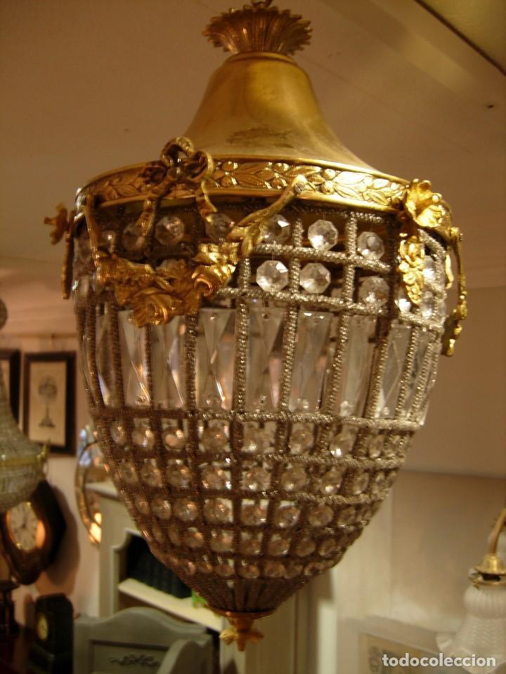 Antigüedades: LAMPARA O GLOBO CON CRISTALES EN BRONCE DORADO - Foto 2 - 117263511