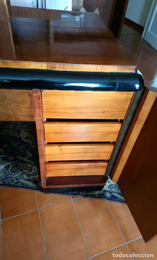 Antigüedades: Fabulosa mesa de despacho Art Decó de Caoba y Palisandro. - Foto 15 - 117272555