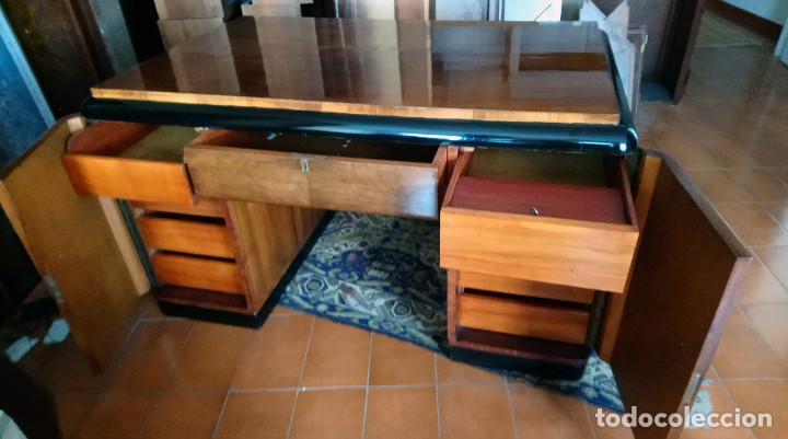 Antigüedades: Fabulosa mesa de despacho Art Decó de Caoba y Palisandro. - Foto 16 - 117272555