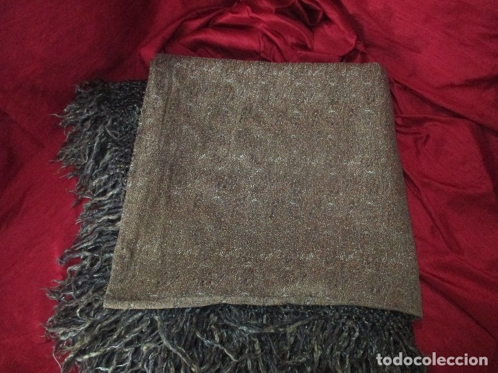 Antigüedades: ANTIGUO MANTON S XIX, MIDE 145 x 145 mas 18 cm de fleco - Foto 9 - 117292351