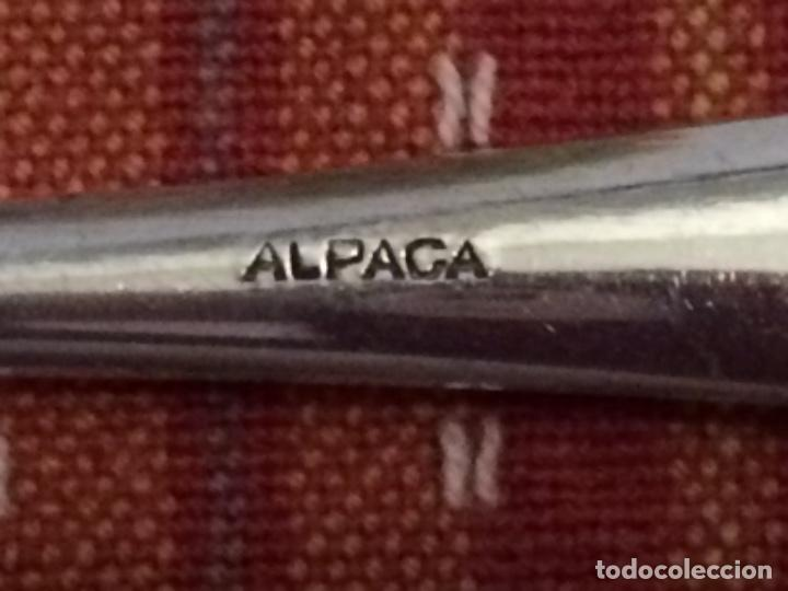 Antigüedades: PALAS DE PESCADO 6 ALPACA PLATEADA - Foto 5 - 117314811