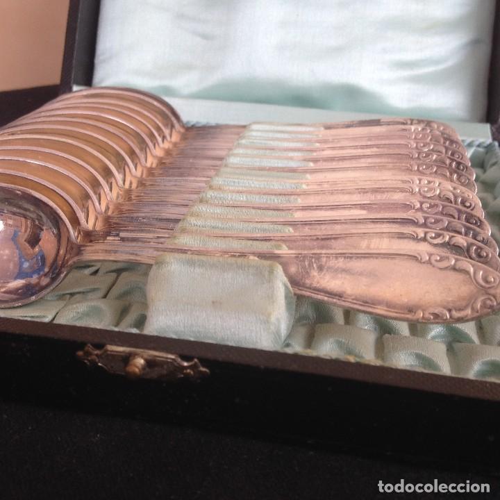 Antigüedades: conjunto de cucharillas bañadas em plata ka 90 estuche orijinal - Foto 3 - 117360371