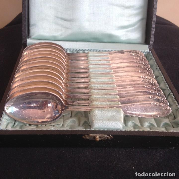 Antigüedades: conjunto de cucharillas bañadas em plata ka 90 estuche orijinal - Foto 6 - 117360371