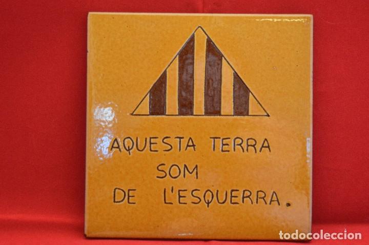 Antigüedades: BALDOSA CATALUNYA ESQUERRA REPUBLICANA CATALUÑA 15X15CM - Foto 2 - 52953470