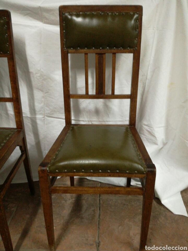 Antigüedades: Pareja de antiguas sillas modernistas para restaurar - Foto 7 - 117378524