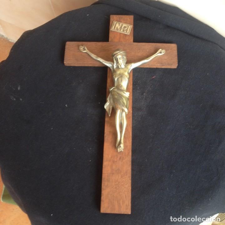 Antigüedades: Antigúa cruz de madera noble con jesus cristo de bronce. - Foto 5 - 117380783