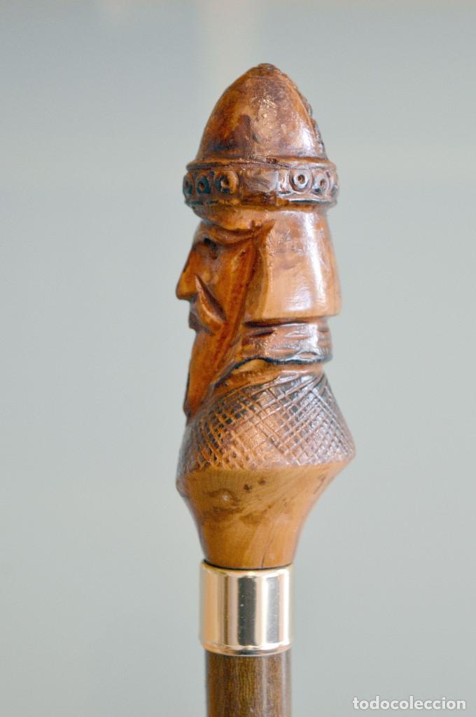 Antigüedades: ANTIGUO BASTÓN CON MANGO EN TALLA EN MADERA BUSTO GUERRERO ALMANZOR - Foto 5 - 52365048