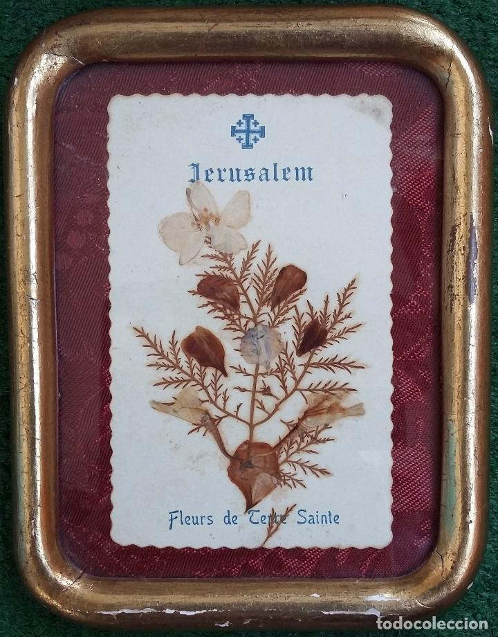 ANTIGUA RELIQUIA ENMARCADA DE JERUSALÉN - FLORES DE TIERRA SANTA (Antigüedades - Religiosas - Varios)