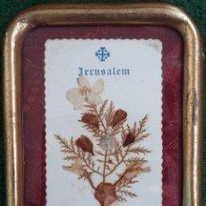 Antigüedades: ANTIGUA RELIQUIA ENMARCADA DE JERUSALÉN - FLORES DE TIERRA SANTA. Lote 117389591
